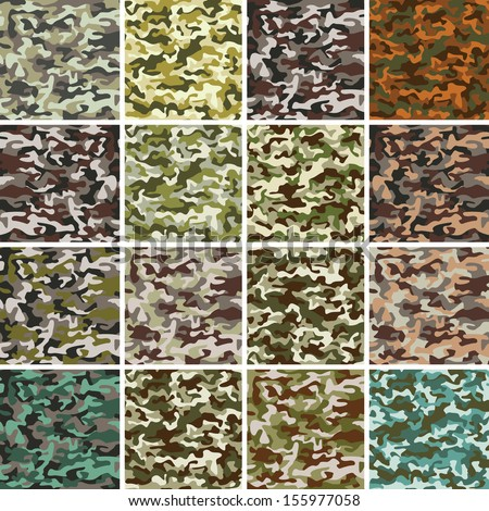 Vector Mega Set of 16 Seamless Background Camouflage Pattern - stock vector