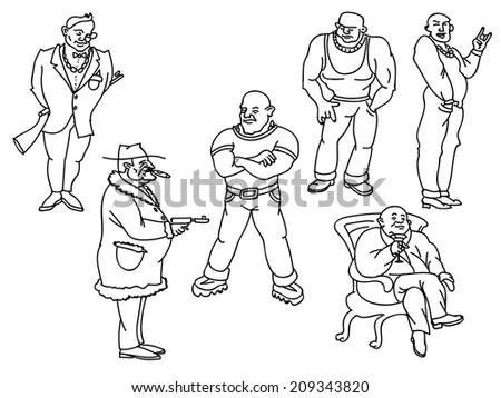 Vector members of a mafia gang - stock vector