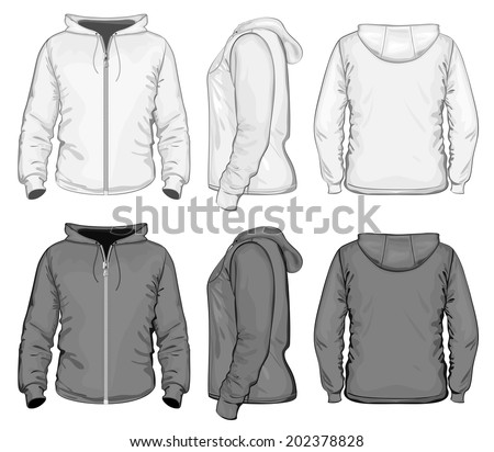 Vector. Men's hooded sweat-shirt with zipper (back, front and side view). Black and white variants. - stock vector