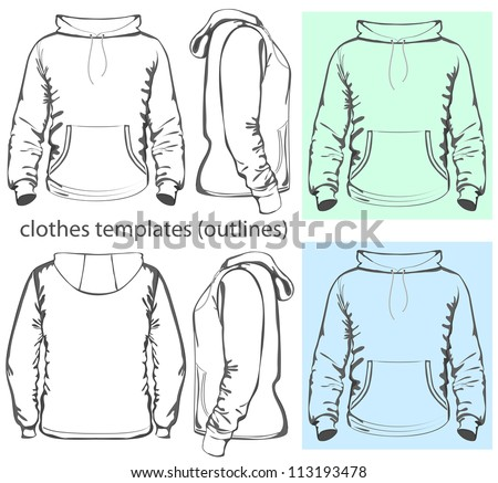 Vector. Men's hooded sweatshirt with pocket (back, front and side views). Outlines - stock vector