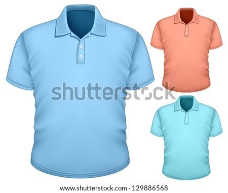 Vector. Men's polo-shirt design template (front view). - stock vector