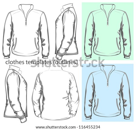 Vector. Men's sweatshirt with zipper and pockets (back, front and side view). Outlines - stock vector