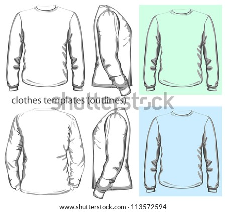 Vector. Men's t-shirt design template (front, back and side view). Long sleeve. outline - stock vector