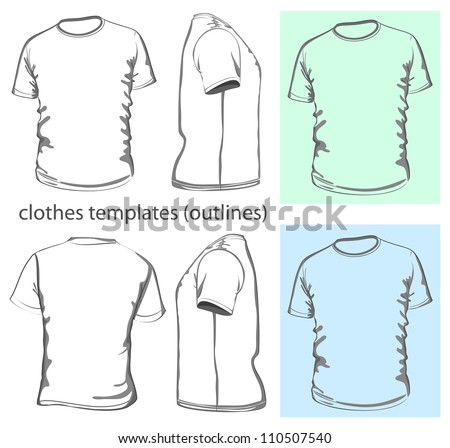 Vector. Men's t-shirt design template (front, back and side view). Outline - stock vector