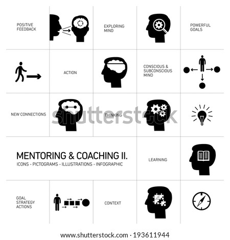 vector mentoring and coaching soft skills icons set modern flat design black illustrations infographic isolated on white background - stock vector
