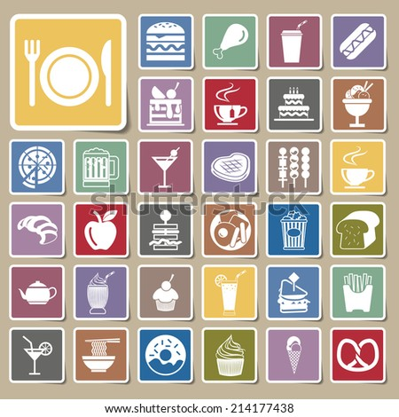 vector menu food and drink icons Sticker set  - stock vector