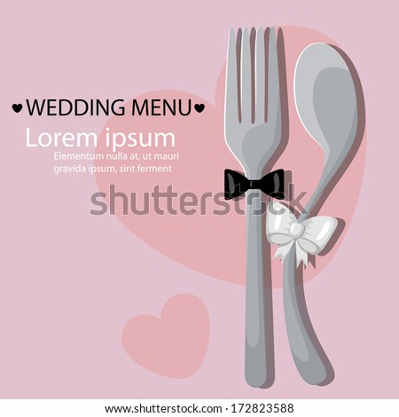 Vector menu pattern with spoon and fork  - stock vector