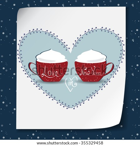 Vector Merry Christmas and Happy New Year card design.2 blue cups of hot coffee.Love and warm holiday.Perfect as invitation and gift.Festive decorative elements. Wooden board with love wish - stock vector