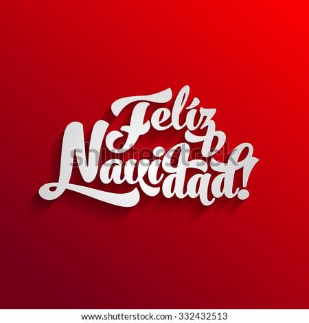 Vector Merry Christmas card template with greetings in spanish language. Feliz navidad