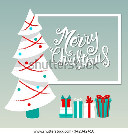 Vector Merry Christmas card with Christmas lettering, handmade calligraphy - stock vector
