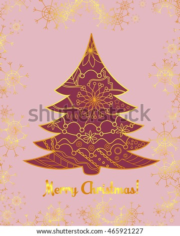 Vector merry christmas card with tree