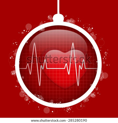 Vector - Merry Christmas Doctor Hospital Heart Ball - stock vector