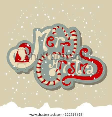 Vector merry Christmas greeting card - stock vector