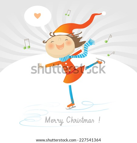 Vector merry christmas greeting card, joyful girl ice skating, expressing love. - stock vector