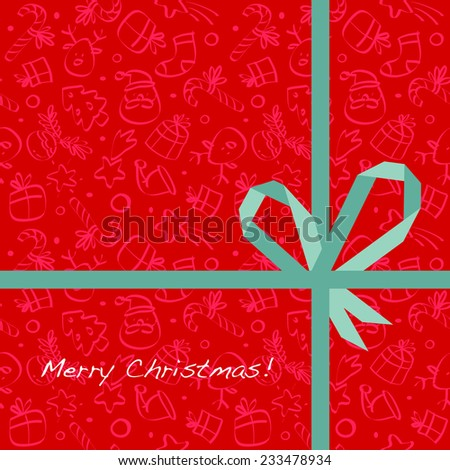 Vector merry christmas greeting card, wrapping paper pattern with gift bow, ribbon.  - stock vector