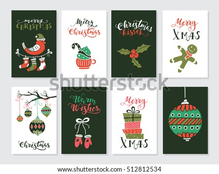 Vector Merry Christmas greeting cards and invitations  isolated on background. Set with cute xmas tree, mistletoe and bird hand drawn designs. Vector elements for Xmas design.