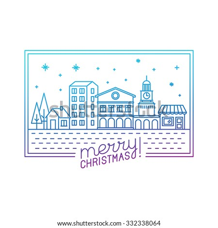 Vector merry christmas hand lettering in outline style - greeting card with decorative typography and city illustration - stock vector