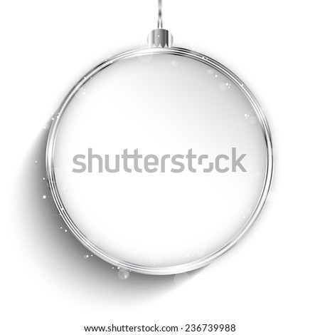 Vector - Merry Christmas Happy New Year Ball Silver with Stars and Snowflakes - stock vector