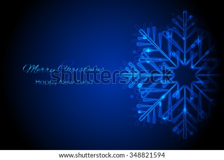 Vector Merry Christmas & Happy New Year card with glowing snowflake - stock vector