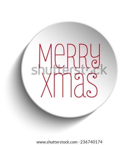 Vector - Merry Christmas Icon Button Red - stock vector