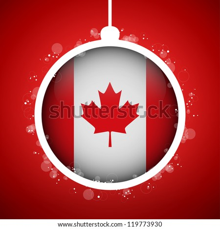 Vector - Merry Christmas Red Ball with Flag Canada - stock vector