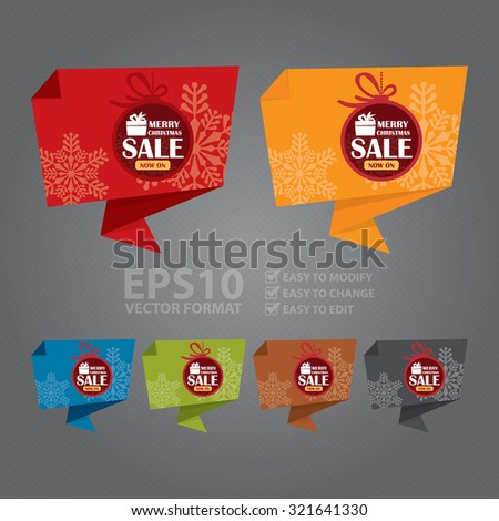 Vector : Merry Christmas Sale Now On Paper Origami Speech Bubble or Speech Balloon Infographics Sticker, Label, Sign or Icon - stock vector