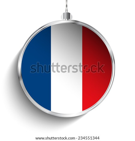 Vector - Merry Christmas Silver Ball with Flag France - stock vector
