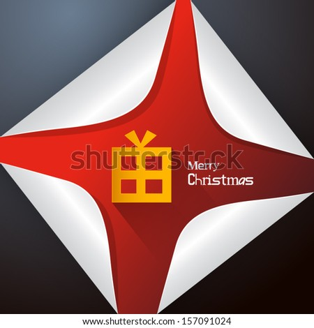 Vector Merry Christmas Theme - Present Box Made From Paper on Red Sticker
