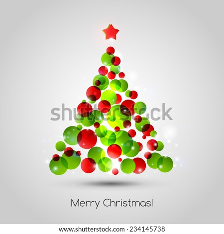 Vector Merry christmas tree background. EPS 10 - stock vector