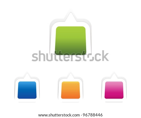 Vector message icon on square sticker set. Transparent shadow easy replace background and edit colors. - stock vector