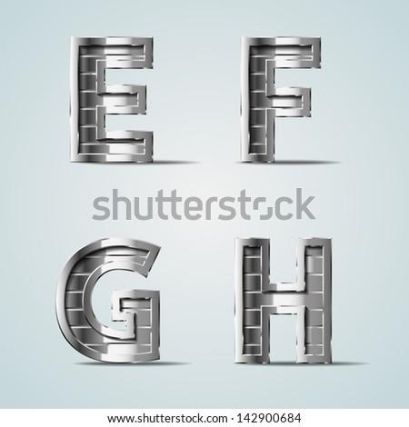 Vector metal alphabet letters E F G H - stock vector