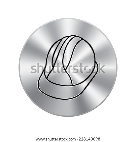 Vector metal button with Hard Hat Construction Icon - stock vector