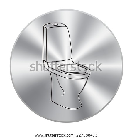 Vector metal button with WC bathroom toilet