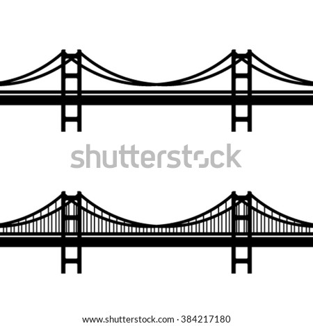 vector metal cable suspension bridge black symbol - stock vector