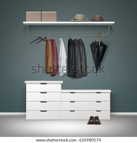 vector metal clothes rack white drawers and shelf with boxes jacket coat - Metal Clothes Rack