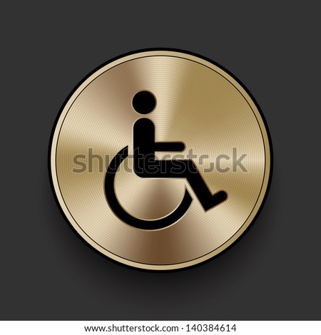 Vector metal disabled icon / button, graphic design element - stock vector