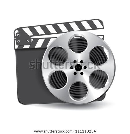 Vector metal film reel with clapboard - stock vector