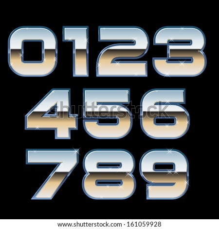 Vector Metal Font - stock vector
