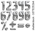 Vector metal font, numbers, digits - stock photo