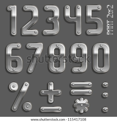 Vector metal font with screw heads PArt 2/2 Numbers - stock vector