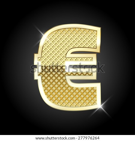 Vector metal gold letter Euro sign - stock vector