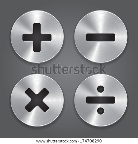 Vector Metal Icons Math Symbols.