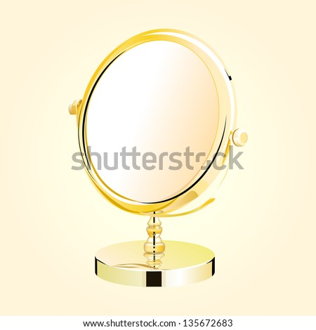 Vector metal make-up mirror. beautiful makeup mirror on vintage grunge background - eps10
