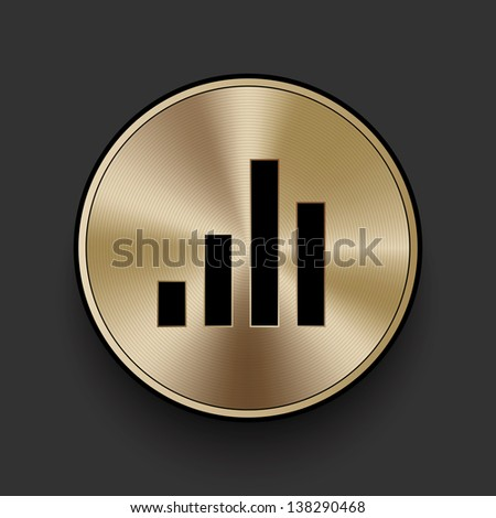 Vector metal multimedia equalizer icon / button - stock vector