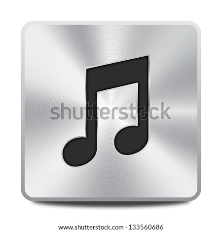Vector metal multimedia musical note icon / button, design element