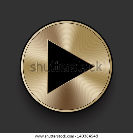 Vector metal multimedia play icon / button, graphic design element - stock vector