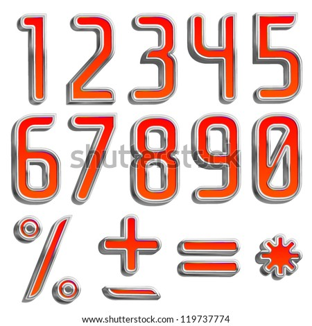 Vector metal RED color font PArt 2/2 Digits,numbers and symbols - stock vector