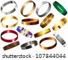 Vector - Metal Rings Bracelets Wristband Set - stock vector