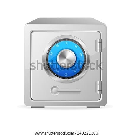 Vector metal safe icon. Security concept - stock vector