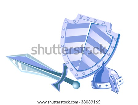 vector metal shield helmet and sword